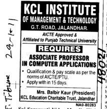 Associate Proffessor and Assistant Proffessor (KCL Institute of Management and Technology)