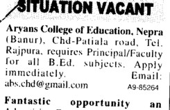 Principal and Faculty for BEd (Aryans College of Education)