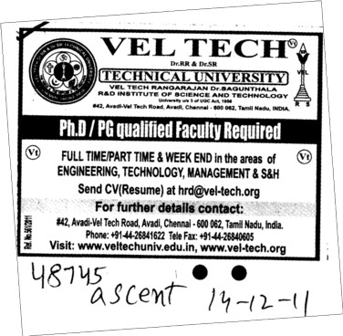 PhD and PG qualified faculty required (Vel Tech Dr. RR and Dr. SR Technical University)