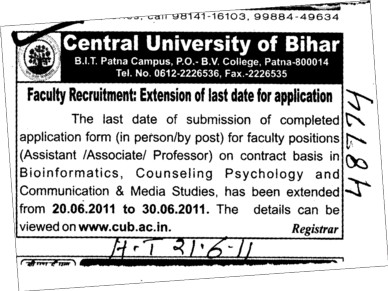 Assistant Proffessor and Associate Proffessor on contract basis (Central University of Bihar)