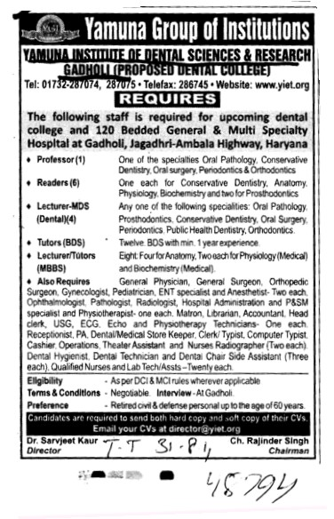 Proffessor Reader and lecturer etc (Yamuna Group of Institutions)