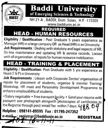 Head Human Resources and Head Training and Placement (Baddi University of Emerging Sciences and Technologies)