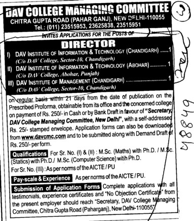 Director required (DAV College Managing Committee)