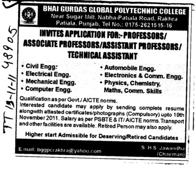 Proffessors Associate Proffessors Lecturers and Assistant Proffessors etc (Bhai Gurdas Global Polytechnic College)