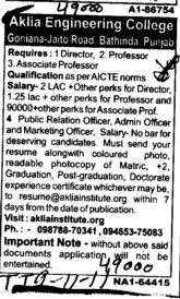 Director Professor and Associate Proffessor (Aklia Institute of Engineering and Technology)