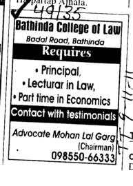 Principal and Lecturers (Bathinda College of Law)