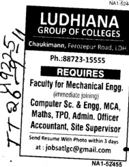 Faculty for Mechanical Engg (Ludhiana Group of Colleges (LGC) Chowkimann)