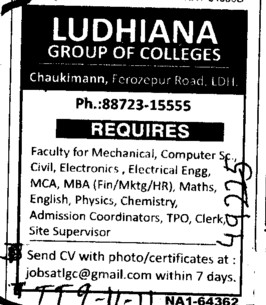 Faculty for BTech and MBA (Ludhiana Group of Colleges (LGC) Chowkimann)