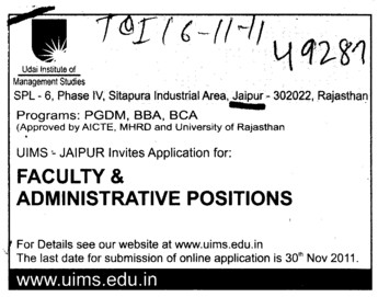 Faculty and Administrative Positions (Udai Institute of Management Studies)