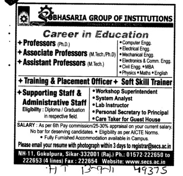Proffessor and Assistant Proffessor (Sobhasaria Group of Institution)