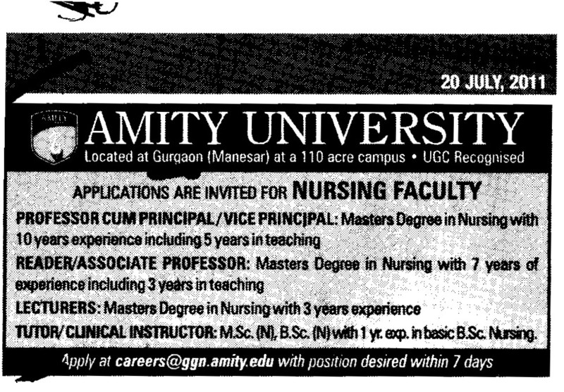 Proffessors Associate Proffessors Lecturers and Assistant Proffessors etc (Amity University Manesar)