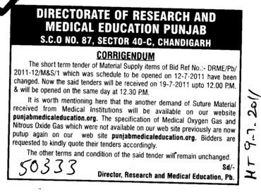 Tender of Material Supply items (Director Research and Medical Education DRME Punjab)