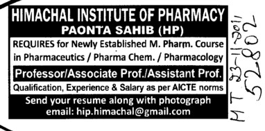 Proffessors Associate Proffessors Lecturers and Assistant Proffessors etc (Himachal Institute of Pharmacy)