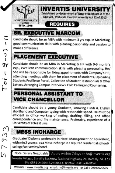 Senior Executive Marcom and Placement Executive etc (Invertis University)