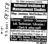 Director Lecturer and Librarian etc (National Institute of Management Studies)