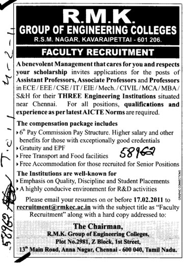 Proffessors Associate Proffessors Lecturers and Assistant Proffessors etc (RMK Group of Engineering Colleges)