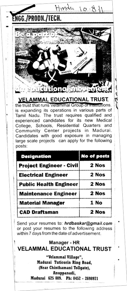 Project Engineer CAD Draftsman and Electrical Engineer etc (Velammal Educational Trust Group)