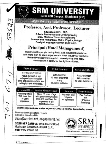 Proffessors Associate Proffessors Lecturers and Assistant Proffessors etc (SRM University Delhi NCR Campus (SRM Institute of Management and Technology (SRMIMT)))