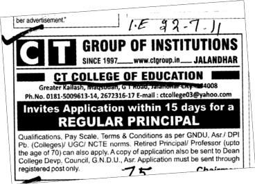Regular Principal required (CT College of Education)