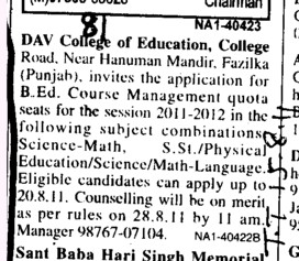 Management quota seats for BEd (DAV College of Education)