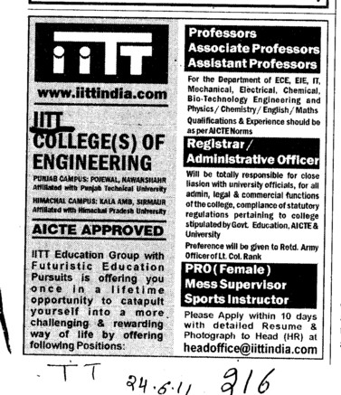 Proffessors Associate Proffessors Lecturers and Assistant Proffessors for BTech etc (IITT Group)