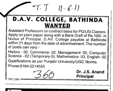 Assistant Proffessor for Contract basis (MG DAV College)