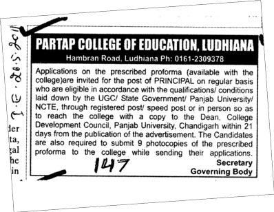 Principal Required (Partap College of Education)