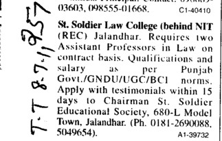 Assistant Proffessor in Law (St Soldier Law College)
