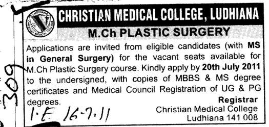 MS in General Surgery (Christian Medical College and Hospital (CMC))