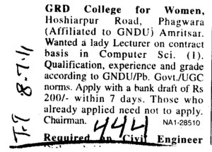 Lady Lecturer on Contract basis (GRD College for Women)