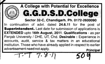 Superintendent require (GGDSD College)