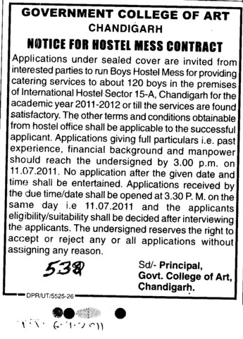 Hostel Mess Contract (Government College of Art)