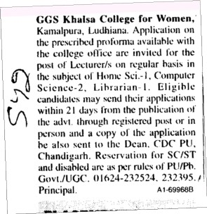 Lecturer on regular basis (Guru Gobind Singh Khalsa College for Women)