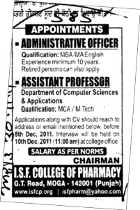 Assistant Proffessor and Administrative Officer (ISF College of Pharmacy)