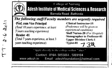 Clinical Instructor Reader and Vice Principal etc (Adesh Institute of Medical Sciences and Research)