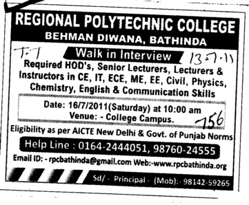 Lecturer HOD and Instructors etc (Regional Polytechnic College)