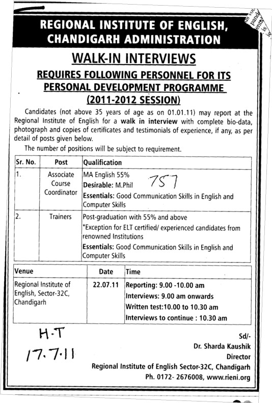 Associate Course Coordinator and Trainers (Regional Institute of English)