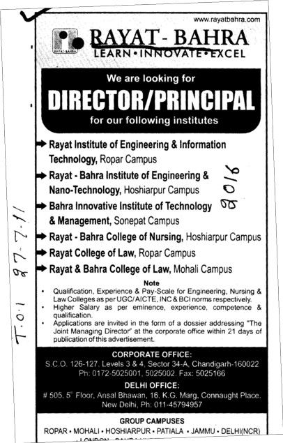 Director and Principal required (Rayat and Bahra Group)