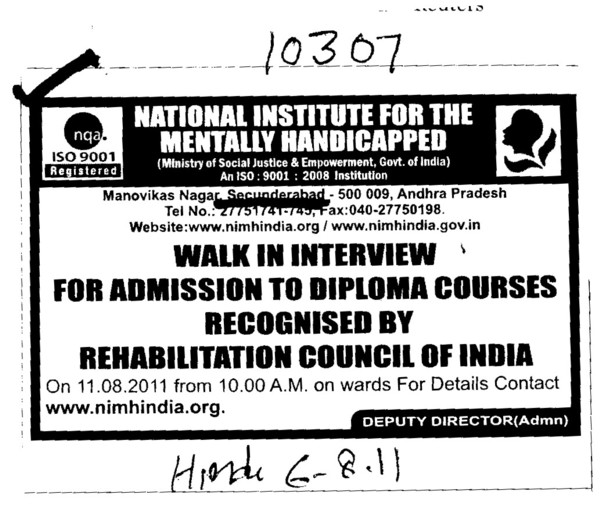 Diploma Course recognised by Rehabiliation Council of India (National Institute for the Mentally Handicapped (NIMH))