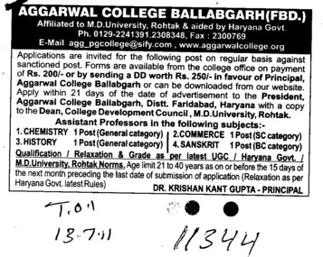 Principal and Assistant Proffessor in Physics and Chemistry (Aggarwal Post Graduate College)