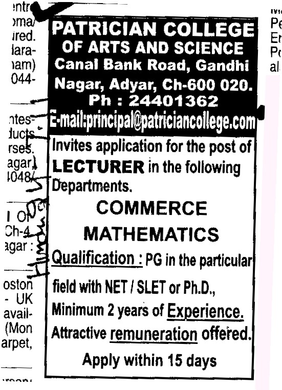 Lecturer for Commerce and Mathematics (Patrician College of Arts and Science)
