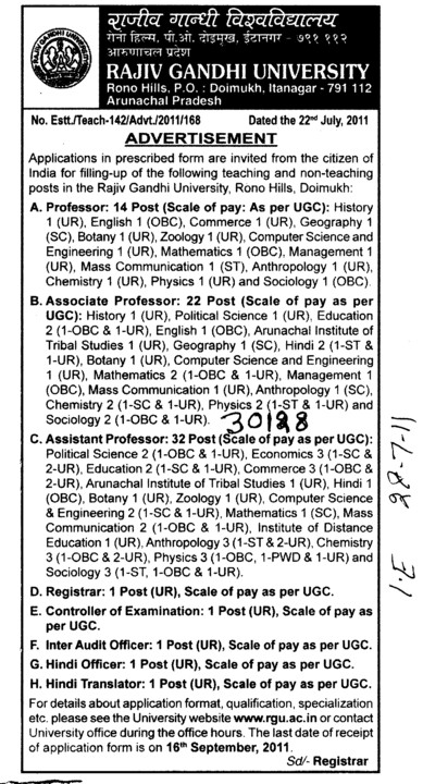 Proffessors Associate Proffessors Lecturers and Assistant Proffessors for BTech etc (RAJIV GANDHI UNIVERSITY)