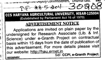 Research Associates (Ch Charan Singh Haryana Agricultural University (CCSHAU))
