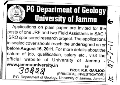 JRF and Two field Assistant (Jammu University)