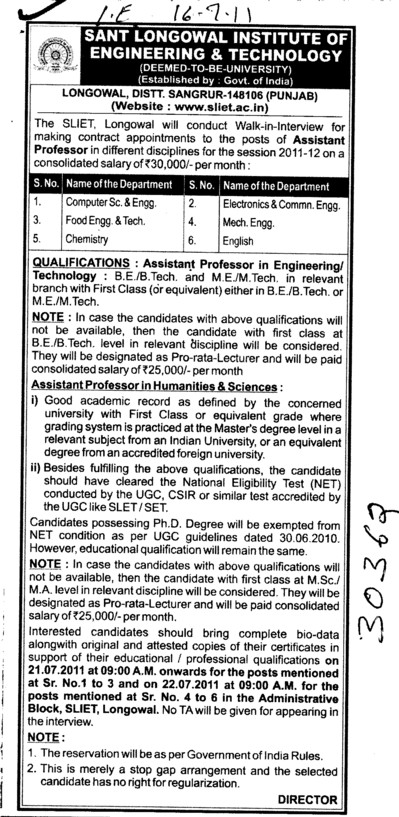 Assistant Proffessor for BTech Course (Sant Longowal Institute of Engineering and Technology SLIET)