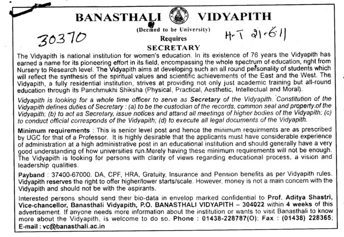 Secretary required (Banasthali University Banasthali Vidyapith)