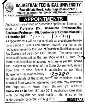 Proffessors Associate Proffessors Lecturers and Assistant Proffessors for BTech etc (Rajasthan Technical University (RTU))