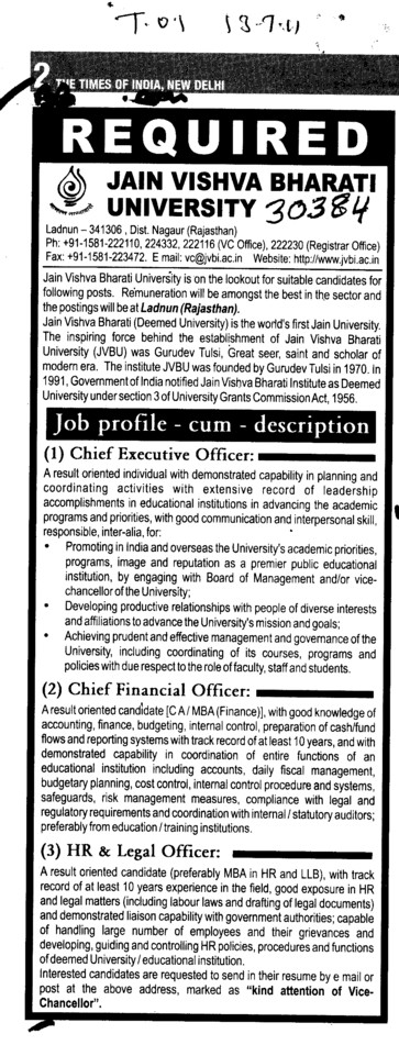 Chief Executive Officer and Cheif Financial Officer (Jain Vishva Bharati University JVB)