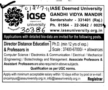 Proffessors Associate Proffessors Lecturers and Assistant Proffessors for BTech etc (IASE Deemed University)