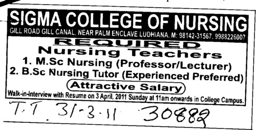 Nursing Teachers (Sigma College of Nursing)